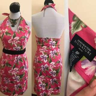 Pink flower backless dress