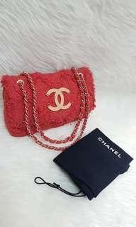 Authentic chanel medium tweed red