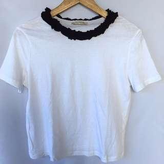ZARA ruffled neckline shirt