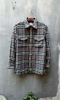 Kemeja burberrys wool flannel