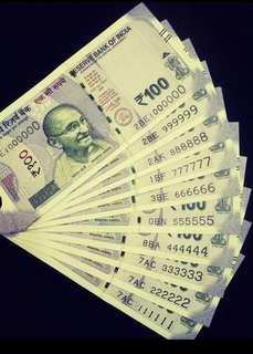 (111111 to 999999 & 1000000) Solid Number new indian 100 Rupees Note Unc