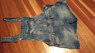Blue denim overalls
