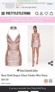 Rose gold choker mini dress, size 8