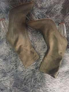 khaki billini clear heel sock boots
