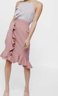 Love Bonito Sasyile Trumpet Skirt in Dusty Pink