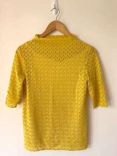 ❤️泥黃色 蕾絲 通花 高領 復古 上身 衫