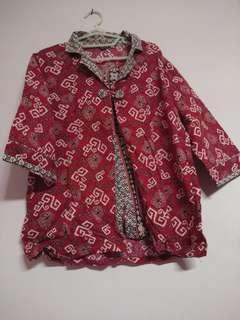 Baju batik kemeja merah rompi nempel merah coklat
