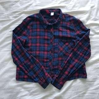 Divided Plaid Crop Polo
