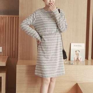 Maternity stripes dress (grey) #seppayday