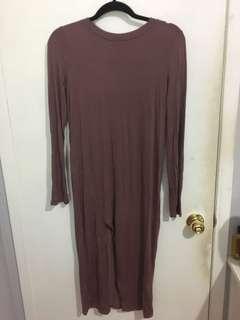 mauve slit dress