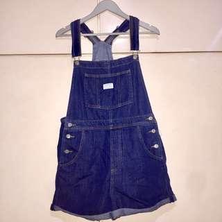 Levi's Dark Washed Denim Overalls (Shorts)