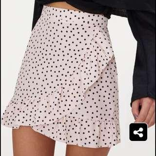 PRETTY LITTLE THING PINK POLKA DOT SKIRT SIZE S SMALL