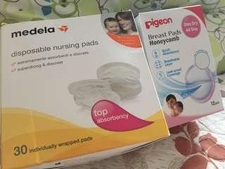 Medela and Pigeon disposable breast pad
