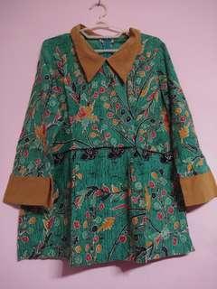 Baju batik peplum hijau kuning bibit