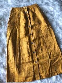Forever21 Mustard Midi Skirt brandnew