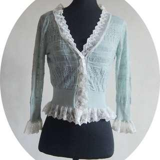 Sky blue cardigan with lace