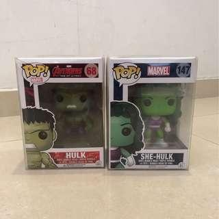 Funko Pop Hulk (#68) & She Hulk (#147)