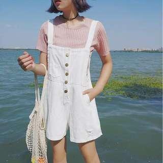 🚚 [全新] 連身百搭牛仔吊帶短褲(白)#十月女裝半價