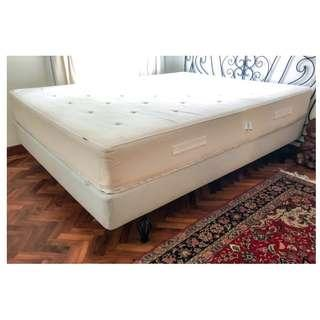 IKEA bed queen - box spring base/spring mattress & headboard