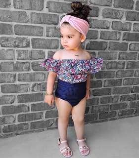 🌟PM for price🌟 🍀Baby Girl Off Shoulder Flower Top+Shorts 2pcs Set🍀