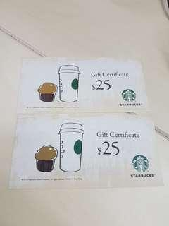 Starbucks Coupon (一套三張$ 65)