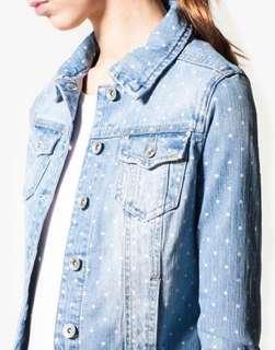 STRADIVARIUS polkadot denim jacket