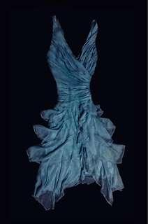 ARTFUL & ETHEREAL - Tadashi Shoji Vintage Baby Blue Goddess Dress - 100% Silk Cascading Waterfall Ruched Bodice Gown