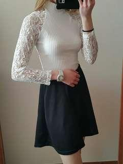 Semi formal top, A-line skirt