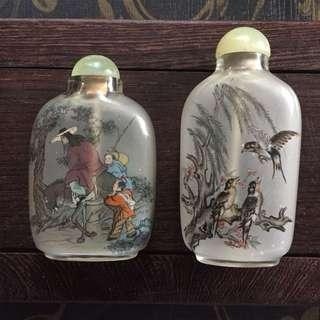Vintage Collectibles Reverse Hand Painted Snuff Bottle $65 for both