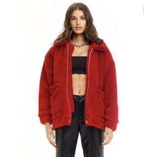 I.AM.GIA red pixie teddy bear coat jacket XS NEW