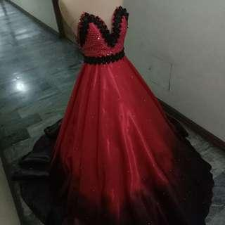 Ombre red & black ball gown for rent