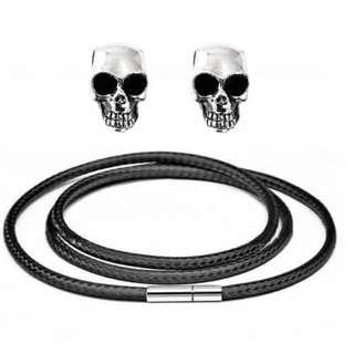 Leather Necklace 2 Skull Pendant Kalung Kulit Pria Liontin 2 Tengkorak
