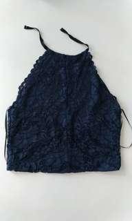Zara Navy Lace Detailed Casual SleevelessTop