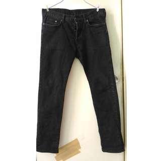 H & M 黑色低腰slim fit 牛仔褲