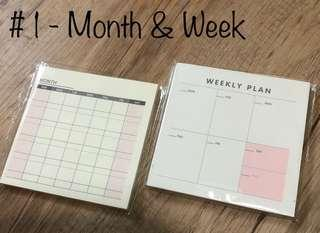 🚚 Mini-Monthly Planners/9.3cm Square/60 sheets per pad/NON-STICKY/Free local Mail [PLANNER] 2 for $3