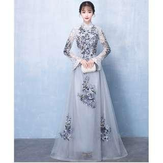 Gown Collection - Noble High Collar Long Sleeves Smoked Grey Embroidered Lace Gown