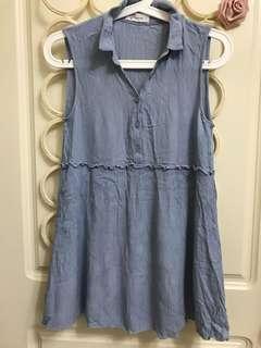 水藍連身小洋裝