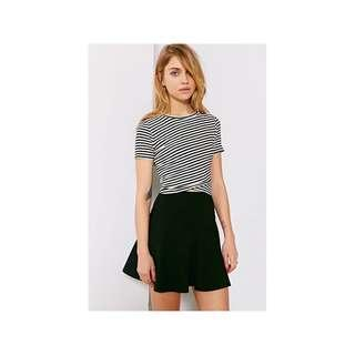 🚚 UO Silence + Noise Crossing Over Crop Top in Black and White Stripe OR Black