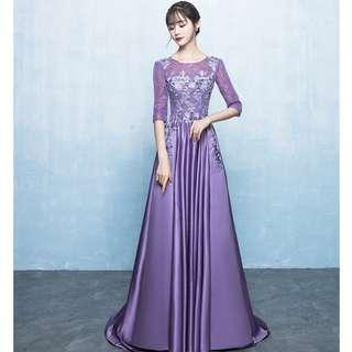 Gown Collection - Romantic Purple Mid Length Lace Sleeves Little Tail Gown