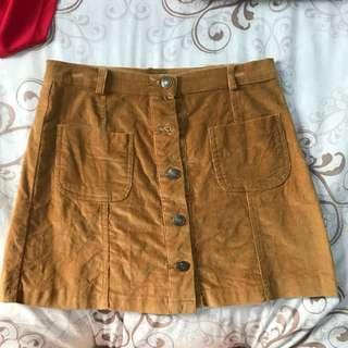 🚚 絨布卡其色排扣短裙 #十月女裝半價