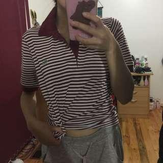 Vintage Red and White Striped Lacoste Polo