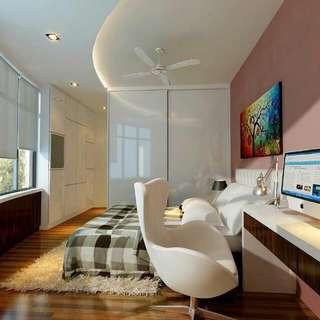 Bedroom Design custom built in wardrobes with recessed Ceiling