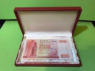 全新1998年中國銀行香港$100紙鎮紀念品