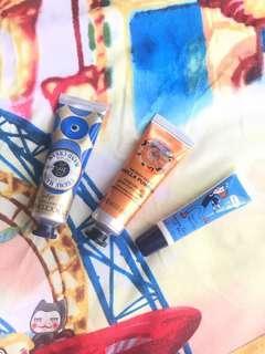 L'OCCITANE and The Body Shop Hand cream and lip balm
