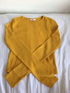 Mustard Long sleeve fitted top