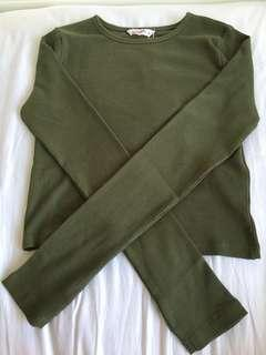 Khaki Long sleeve fitted top