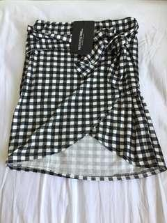 Black gingham tie front mini skirt