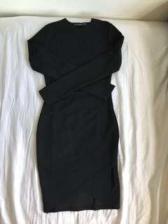 Black long sleeve wrap bodycon dress