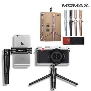 MOMAX TRIPOD PRO輕量鋁合金三腳架/360度球形雲台/支援手機、相機-玫瑰金 Iphone/ 三星/ Canon /Nikon 合用