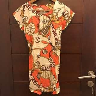 dress karet orange